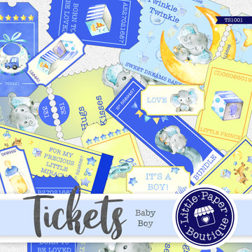 Baby Boy Printable Collage Ticket Series TS1001