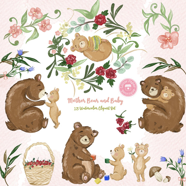 Mother Bear and Baby Digital Clipart CA301