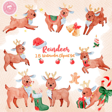 Christmas Reindeer Digital Clipart CA000