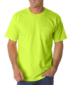 Bayside 1725 pocket tee shirt, 50/50, 5.4 oz, S-4XL, Made in USA