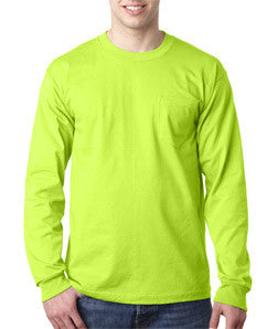 Bayside 8100 long sleeve pocket tee shirt, 100% preshrunk cotton, 6.1 oz, M-4XL, Made in USA