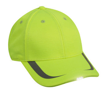 LED baseball cap, safety green