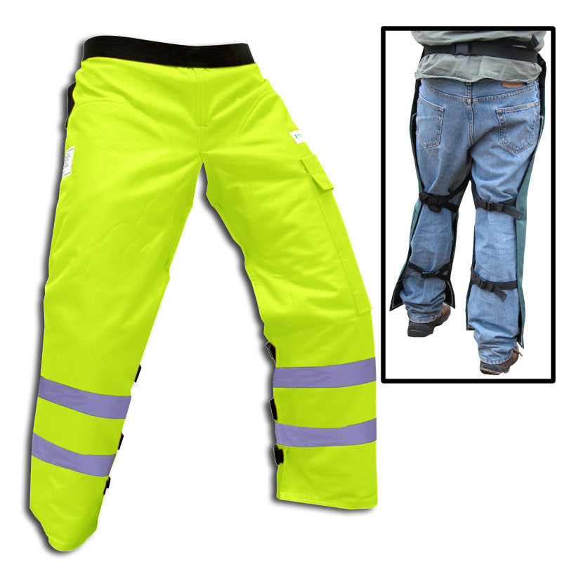 "Forester CHAP1140-SG Long 40"" Apron Style Chaps, Safety Green, Class E"