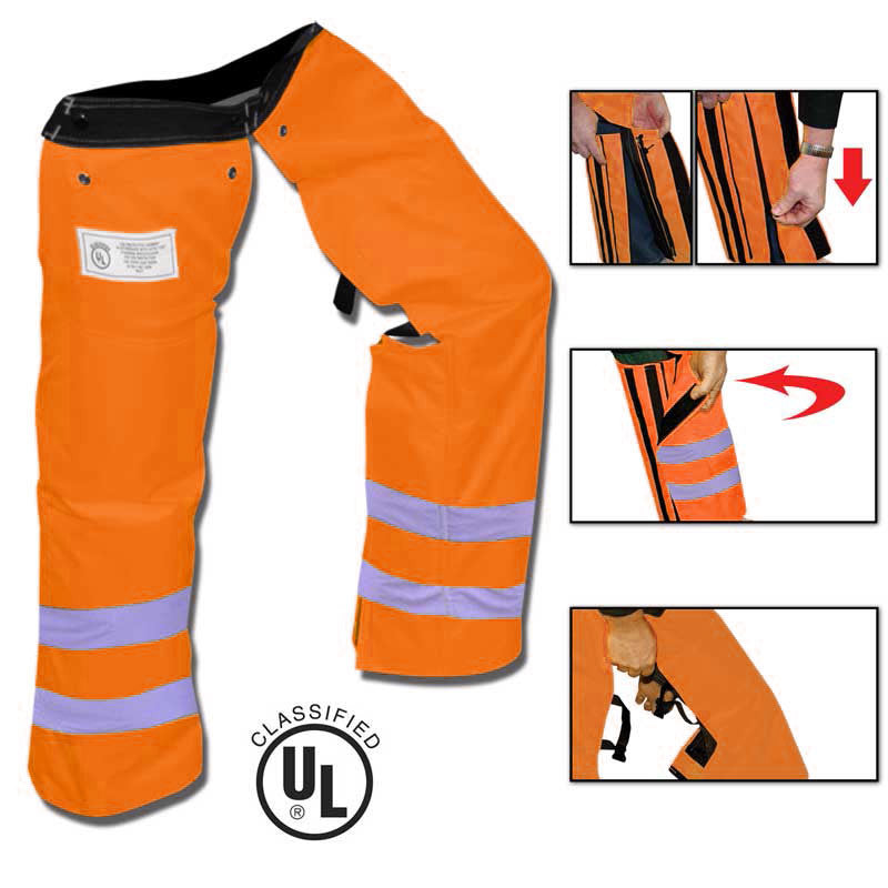 Forester ZIPCHAP-OCLE Zipper Chainsaw Chaps Class E Safety Orange