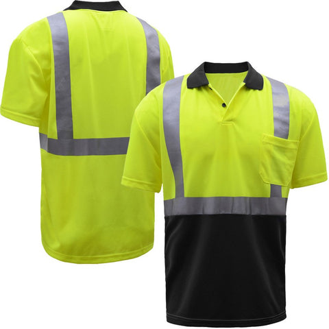 GSS Safety 5003, Black Bottom Class 2 Polo Shirt, M-5XL