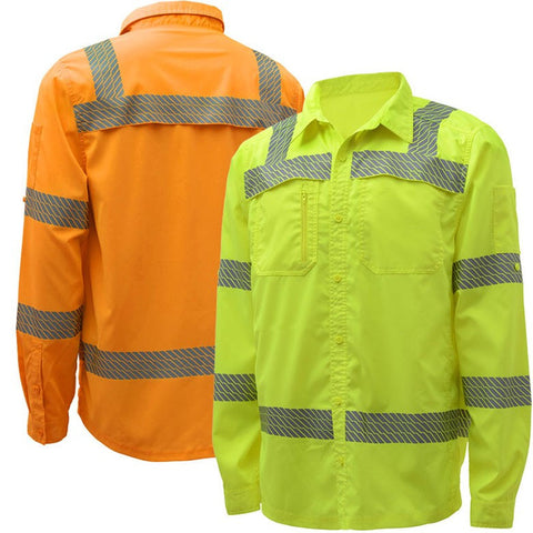 GSS Safety 7505/7506 Class 3, Ripstop Button Down Shirt, Lime or Orange, M-5X