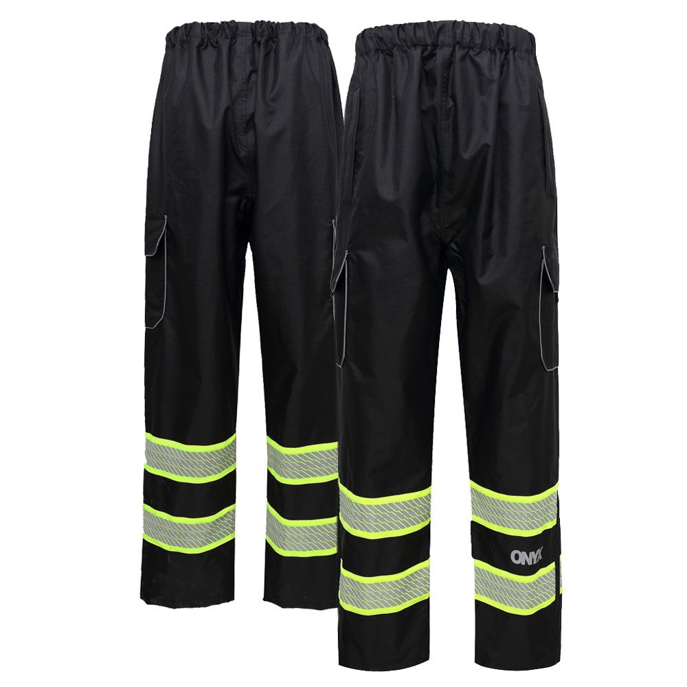 GSS Safety 6713 Enhanced Visibility Teflon Coated, Black Rain Pants, M - 5XL