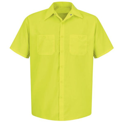 Red Kap SS24YE Enhanced Visibility Short Sleeve Button Down Shirt, S-3XL, M-2XL Tall