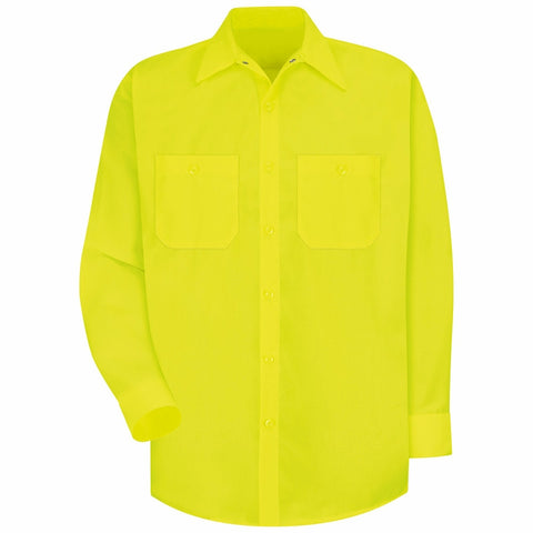 Red Kap SS14 Enhanced Visibility Long Sleeve Button Down Shirt, S-3XL, M-2XL Tall
