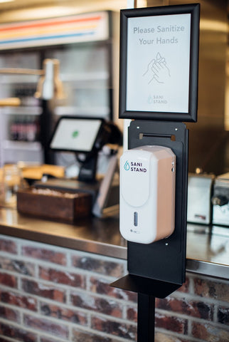 Sani Stand Touchless Hand Sanitizer Dispensers with Customizable Sign