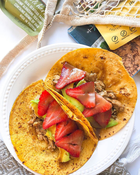 "VEGAN STRAWBERRY ""TUNA"" TACOS"