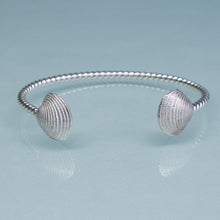Load image into Gallery viewer, Cast silver venus clam shell cuff bracelet by hkm jewelry