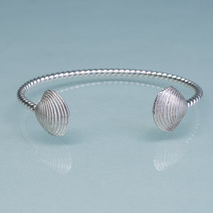 Cast silver venus clam shell cuff bracelet by hkm jewelry