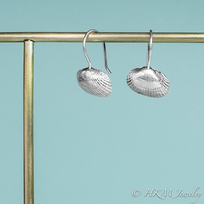 ark clam shell drop earrings by hkm jewelry with side and front view