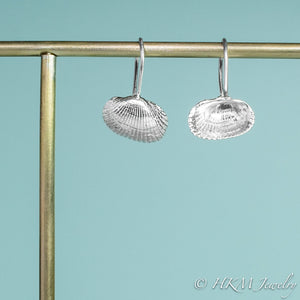 the ark clam shell drop earrings by hkm jewelry with front and back view