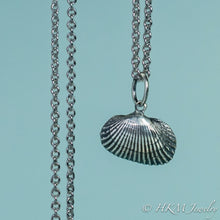 Load image into Gallery viewer, front close up view of ark clam shell necklace in oxidized silver by hkm jewelry