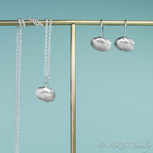 Load image into Gallery viewer, ark clam seashell necklace in polished silver by hkm jewelry with matching  drop earrings
