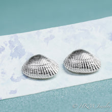 Load image into Gallery viewer, front close up view of ark clam shell stud earrings in polished silver by hkm jewelry
