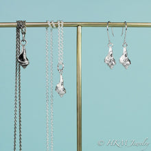 Load image into Gallery viewer, baby knobbed whelk dangle earrings and matching necklace in sterling silver by hkm jewelry