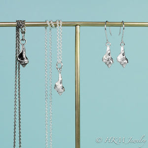 baby knobbed whelk dangle earrings and matching necklace in sterling silver by hkm jewelry