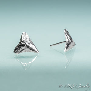 front and side view of bull shark tooth tiny stud earrings in sterling silver by hkm jewelry