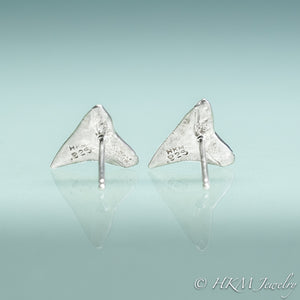 back view of bull shark teeth tiny stud earrings in sterling silver by hkm jewelry