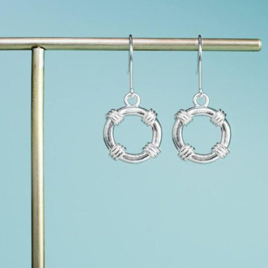 life saver dangle earrings in silver by hkm jewelry
