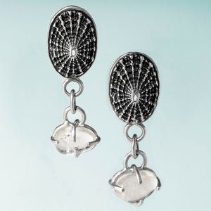 Keyhole Limpet Shell Dangle Stud Earrings with Cape May Diamonds