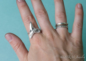 Mako Shark Tooth Ring - Large Silver Cast Teeth