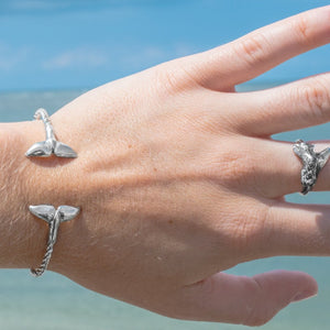 Silver Sea Tail Cuff - Twisted Bracelet on model
