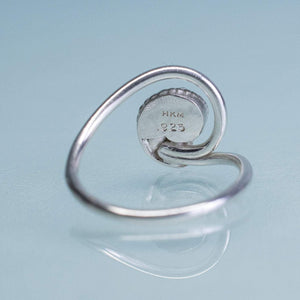 Whelk Wave Ring - Silver Seashell Swirl Band