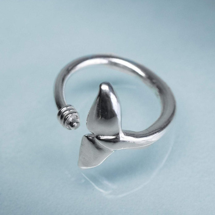 Sea Tail Adjustable Ring - Dolphin Fluke Band by hkm jewelry