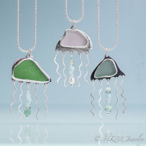 Sea Glass Jellyfish Necklace - Semi Precious Ocean Creature - Silver and Gem Tentacles