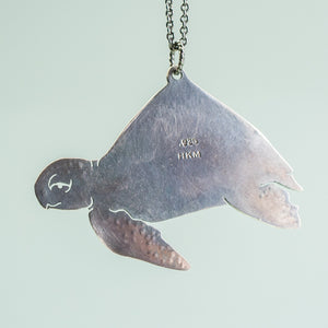 Sea Turtle Shell Necklace - Oxidized Sterling Silver Ocean Creature