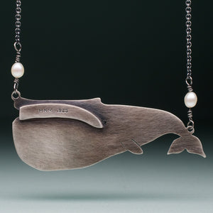 Sea Glass Blue Whale Necklace - Oxidized Sterling Silver Ocean Creature