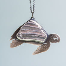 Load image into Gallery viewer, Sea Turtle Shell Necklace - Oxidized Sterling Silver Ocean Creature