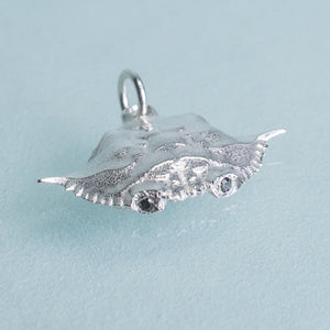 Baby Blue Crab Carapace Necklace - Cast Silver Charm
