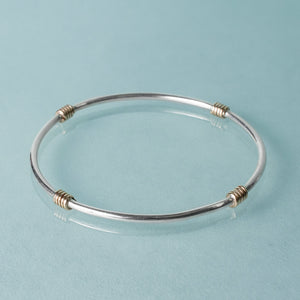 14k gold and sterling Life Ring bangle by hkm jewelry