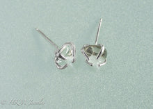 Load image into Gallery viewer, close up side view of small size prong set tumble polished cape may diamond stud earrings in sterling by hkm jewelry