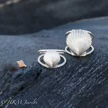 Load image into Gallery viewer, small or large scallop shell ring with split shank band in sterling by HKM Jewelry