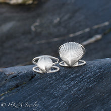 Load image into Gallery viewer, small and large scallop shell ring on a double band in sterling silver by hkm jewelry