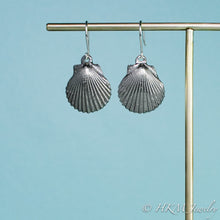 Load image into Gallery viewer, large oxidized scallop shell dangle earrings in sterling silver by hkm jewelry