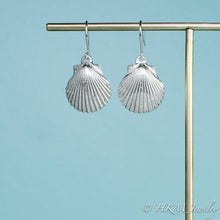 Load image into Gallery viewer,  large polished scallop shell dangle earrings in sterling silver by hkm jewelry