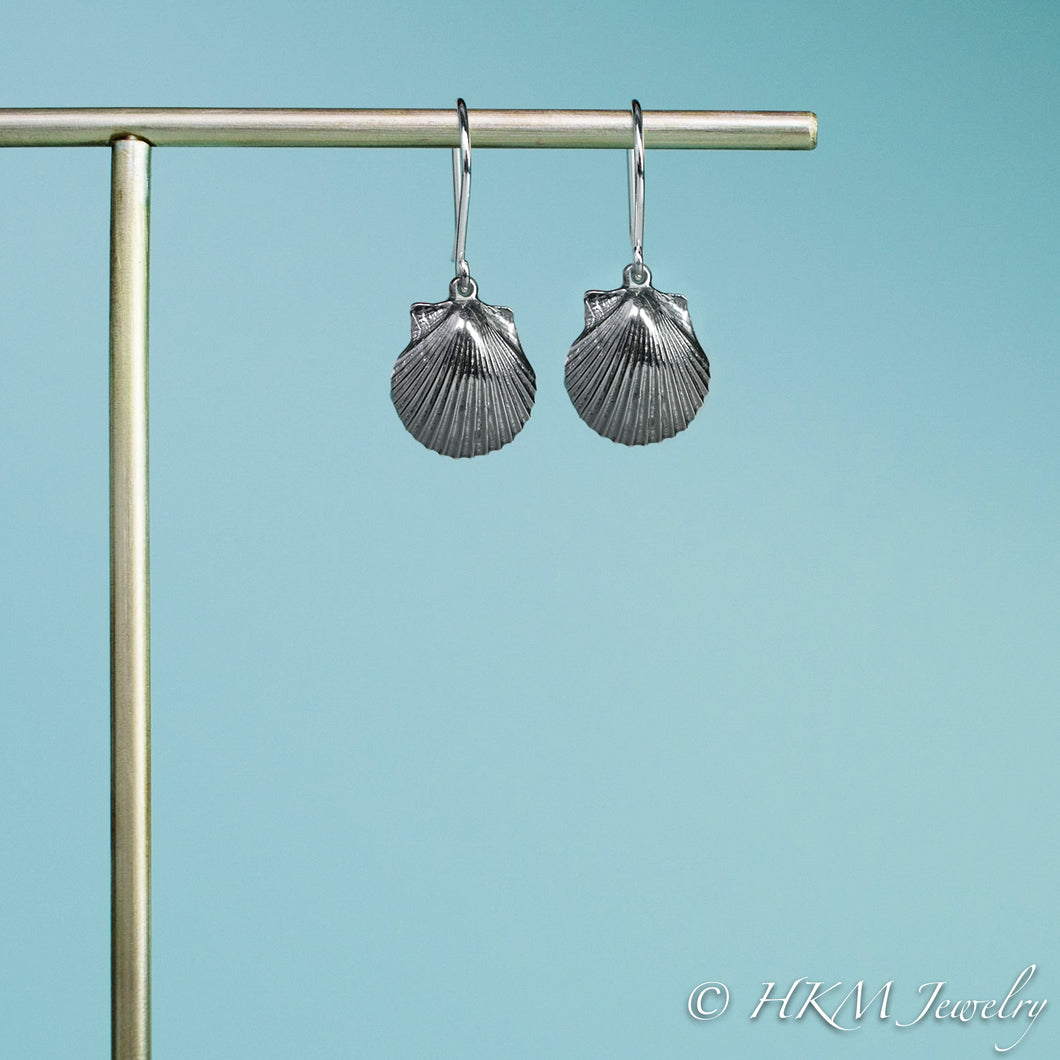 small oxidized scallop shell dangle earrings in sterling silver by hkm jewelry