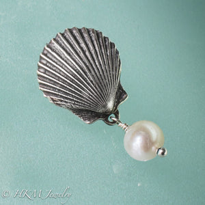 the scallop pearl pendant in oxidized finish with white freshwater pearl drop by hkm jewelry
