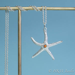 silver starfish necklace with citrine gemstone November birthstone by HKM Jewelry
