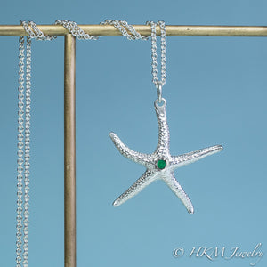 silver starfish necklace with emerald gemstone May birthstone by HKM Jewelry
