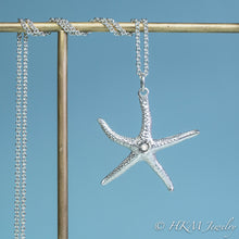Load image into Gallery viewer, silver starfish necklace with faceted Moonstone gemstone June birthstone by HKM Jewelry
