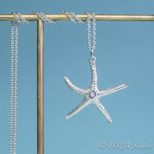Load image into Gallery viewer, silver starfish necklace with moonstone gemstone June birthstone by HKM Jewelry