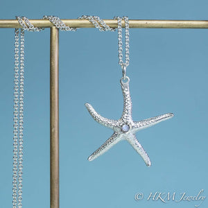 silver starfish necklace with moonstone gemstone June birthstone by HKM Jewelry